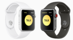 Two Apple Watches with the new Walkie-Talkie feature shown on their screens.