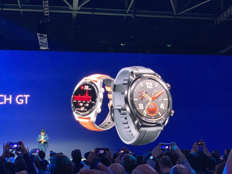 Shot of Watch GT from Huawei launch even in London, on stage.