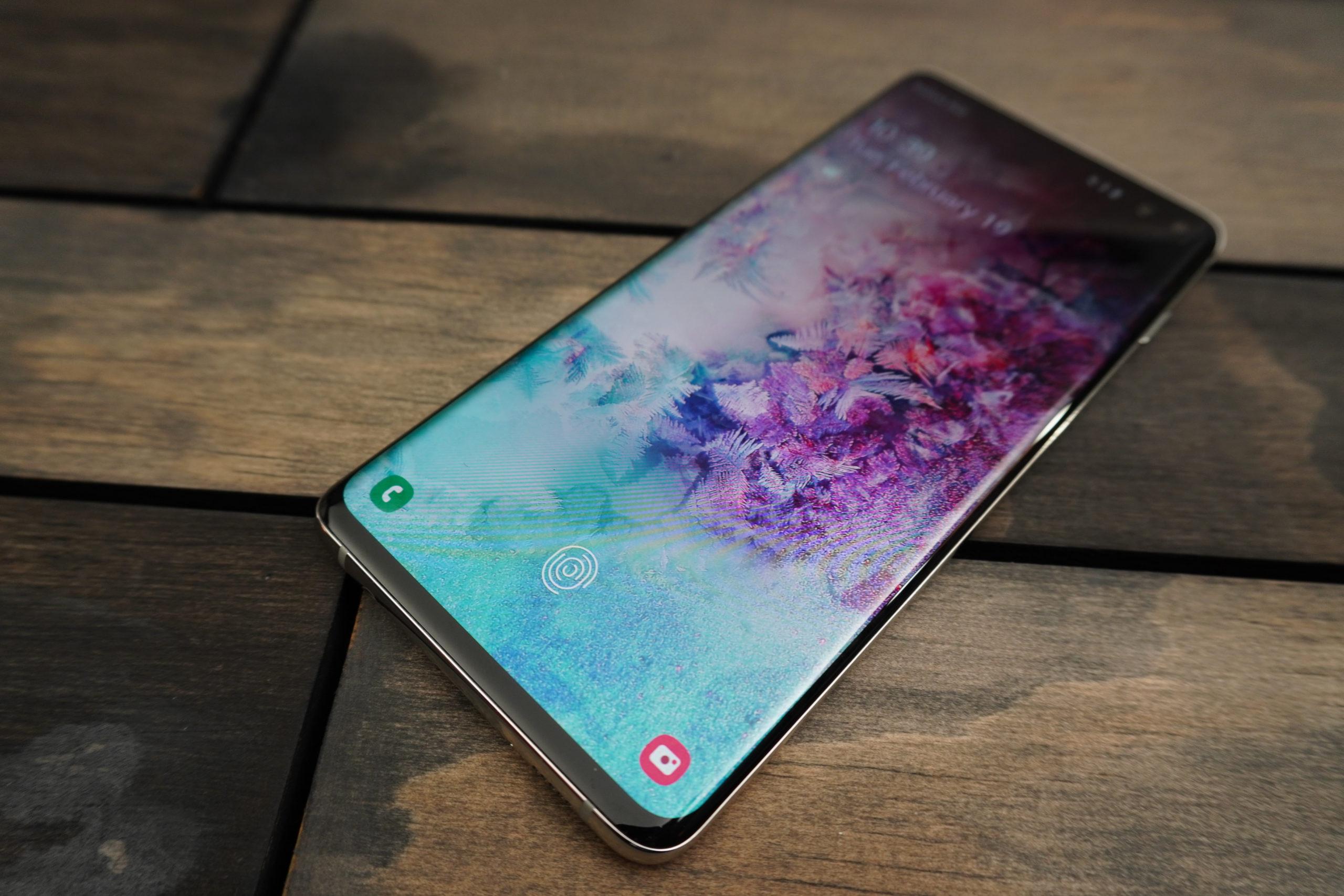 Samsung Galaxy S10 phone on 45 degree angle