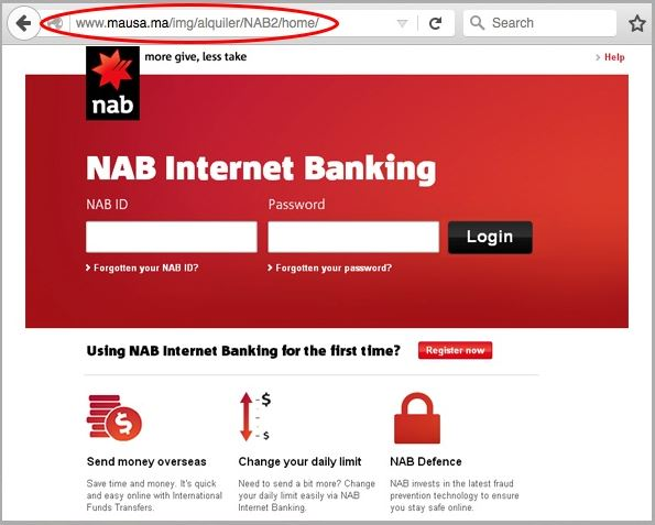 Fake bank websites