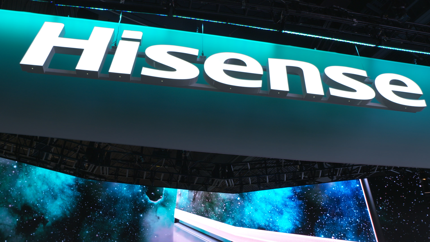 Hisnse logo on CES stand