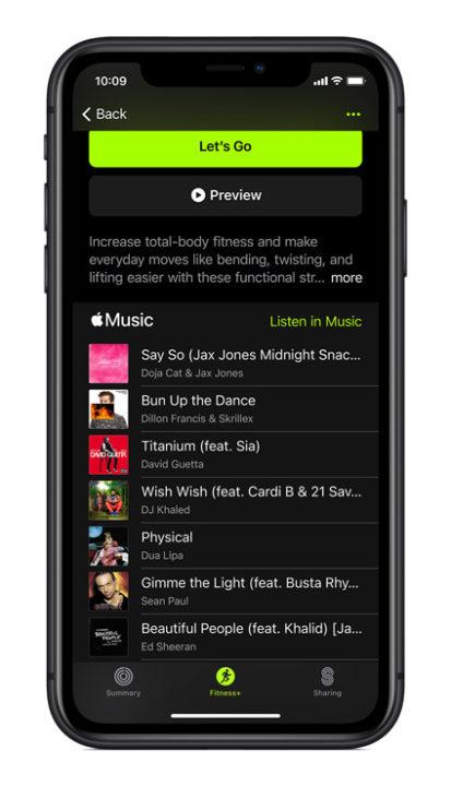 Fitness+ music screen