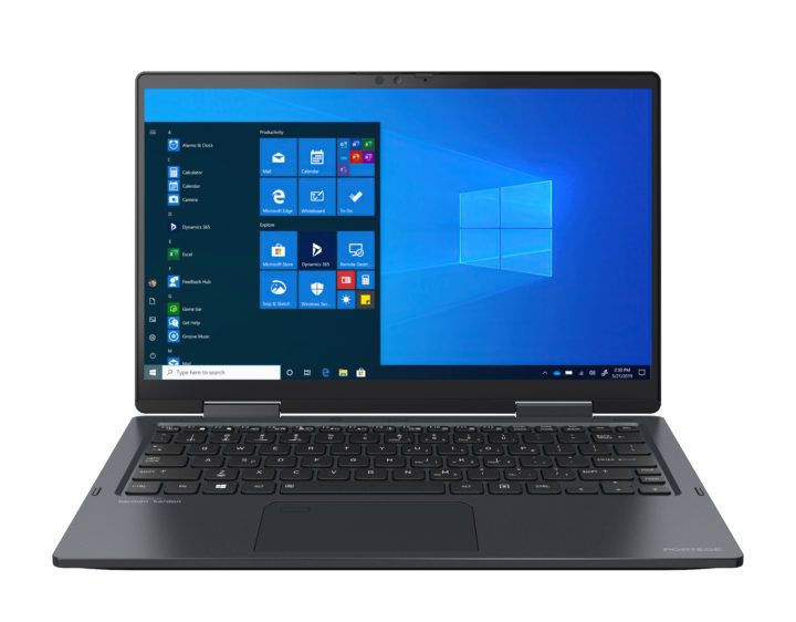 Toshiba 2-in-1 laptop with blue screen