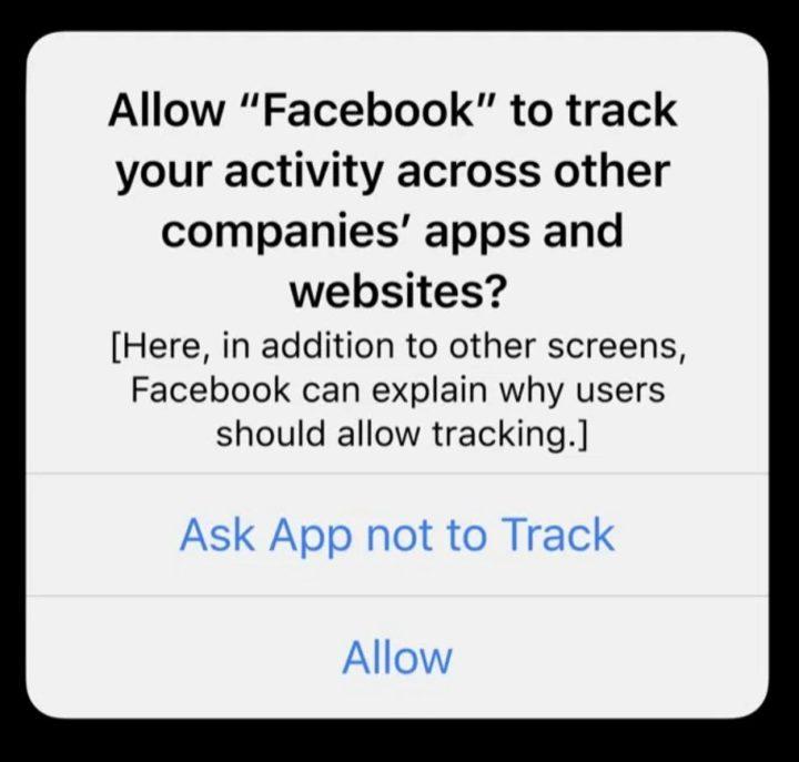 App tracking pop-up