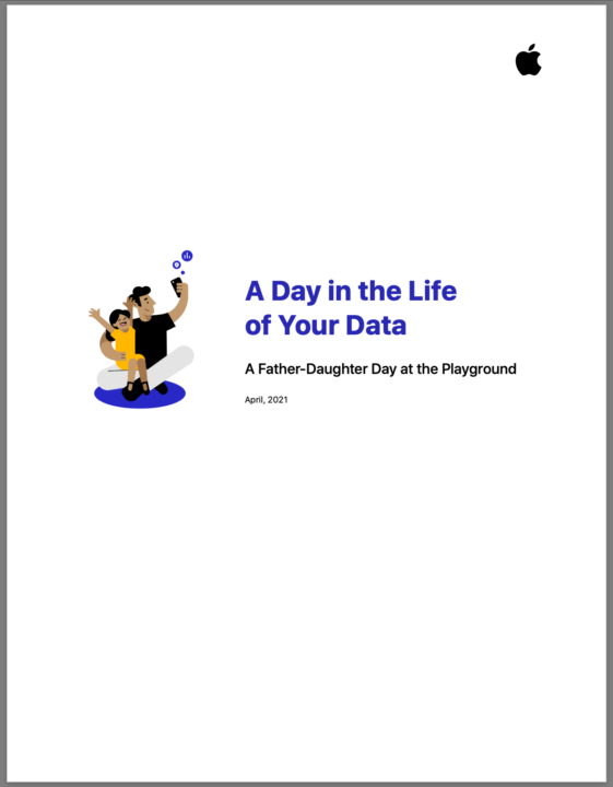 Cover of Apple privacy PDF - a day in the life of your data.