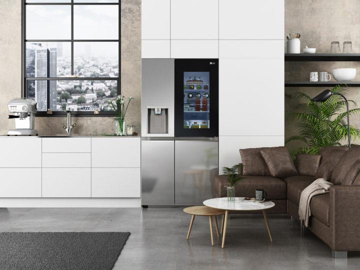 Silver fridge in attractive kitchen