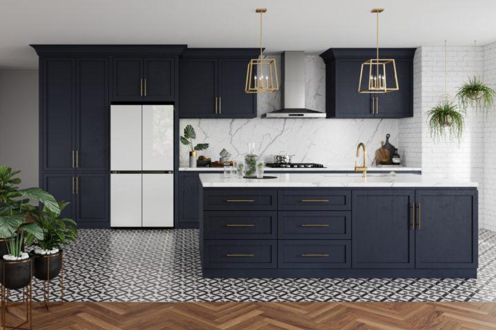 White fridge in blue kitchen