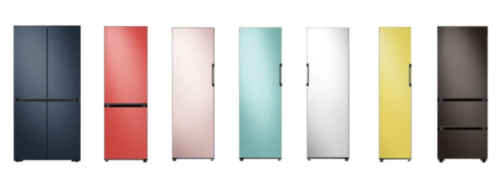 Row of rainbow colour refrigerators