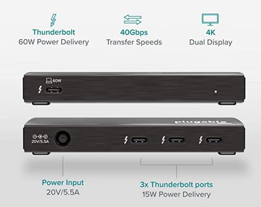 Plugable Thunderbolt 4 TBT4-HUBC3 hub